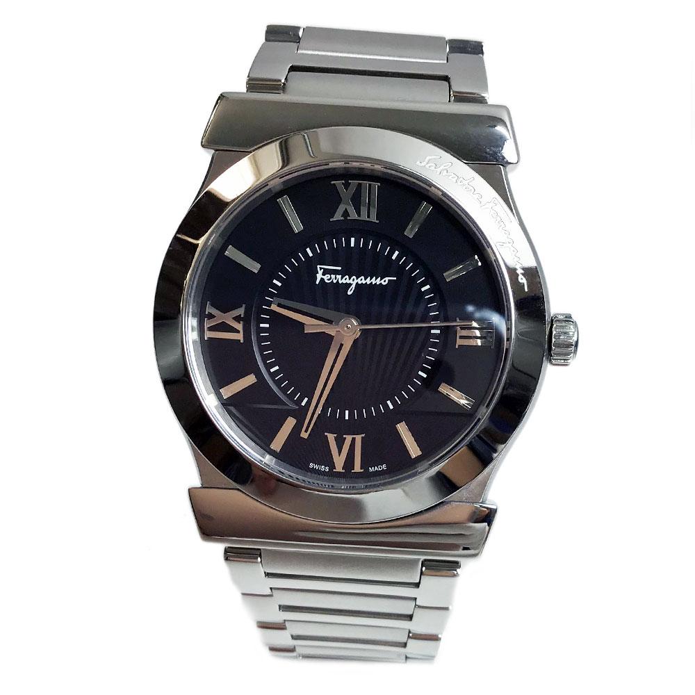 サルバトーレフェラガモ 腕時計 メンズ VEGA 38mm ブラック ステンレスベルト