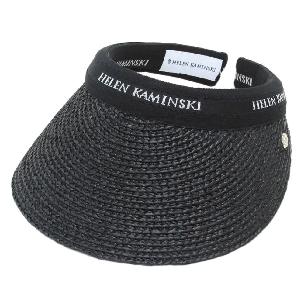 HELEN KAMINSKI ヘレンカミンスキー サンバイザー Bianca Charcoal Black Logo クリップ ビアンカ 現金特価 UPF50+ ラフィア製ハット メーカー直売 レディス帽子