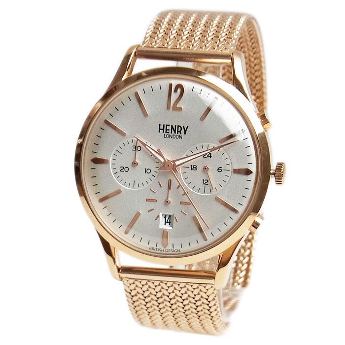 ヘンリーロンドン 時計 メンズ HENRY LONDON 41mm クロノグラフ リッチモンド ローズゴールド