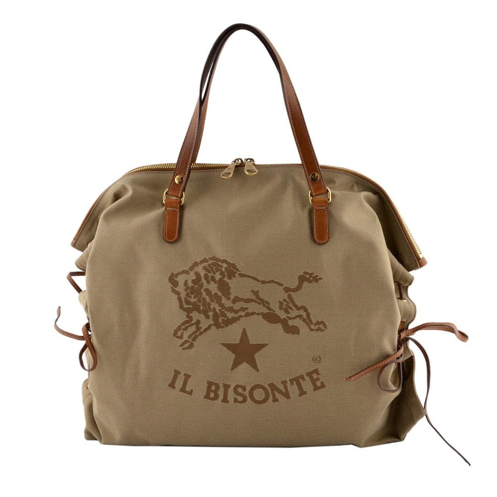 IL BISONTE イルビゾンテ バッグ イルビゾンテ バッグ IL BISONTE KHAKI/CIOCCOLATO キャンバス×レザー ショルダーバッグ A2799-T598