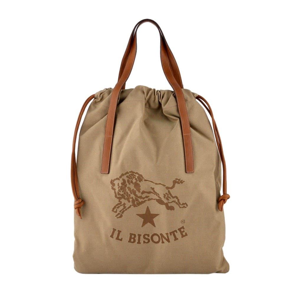 IL BISONTE イルビゾンテ バッグ イルビゾンテ バッグ IL BISONTE KHAKI/CIOCCOLATO キャンバス×レザー 巾着バッグ ショルダーバッグ L1201-T598