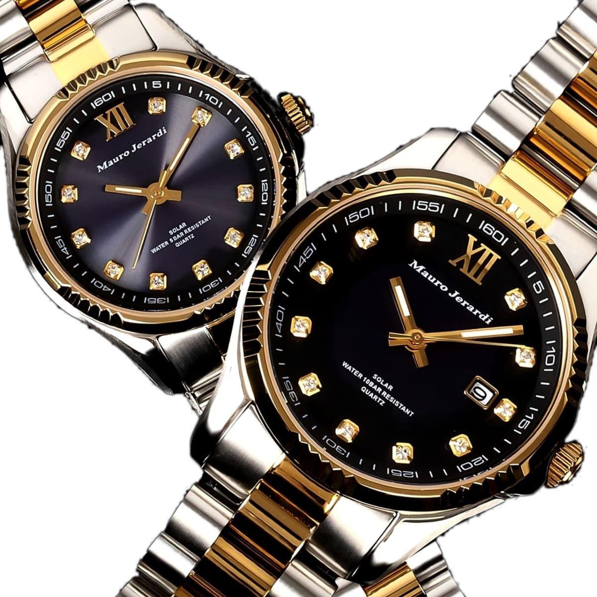マウロジェラルディ 腕時計 ペア ペアウォッチ Mauro Jerardi ソーラー MJ037-2 MJ038-2