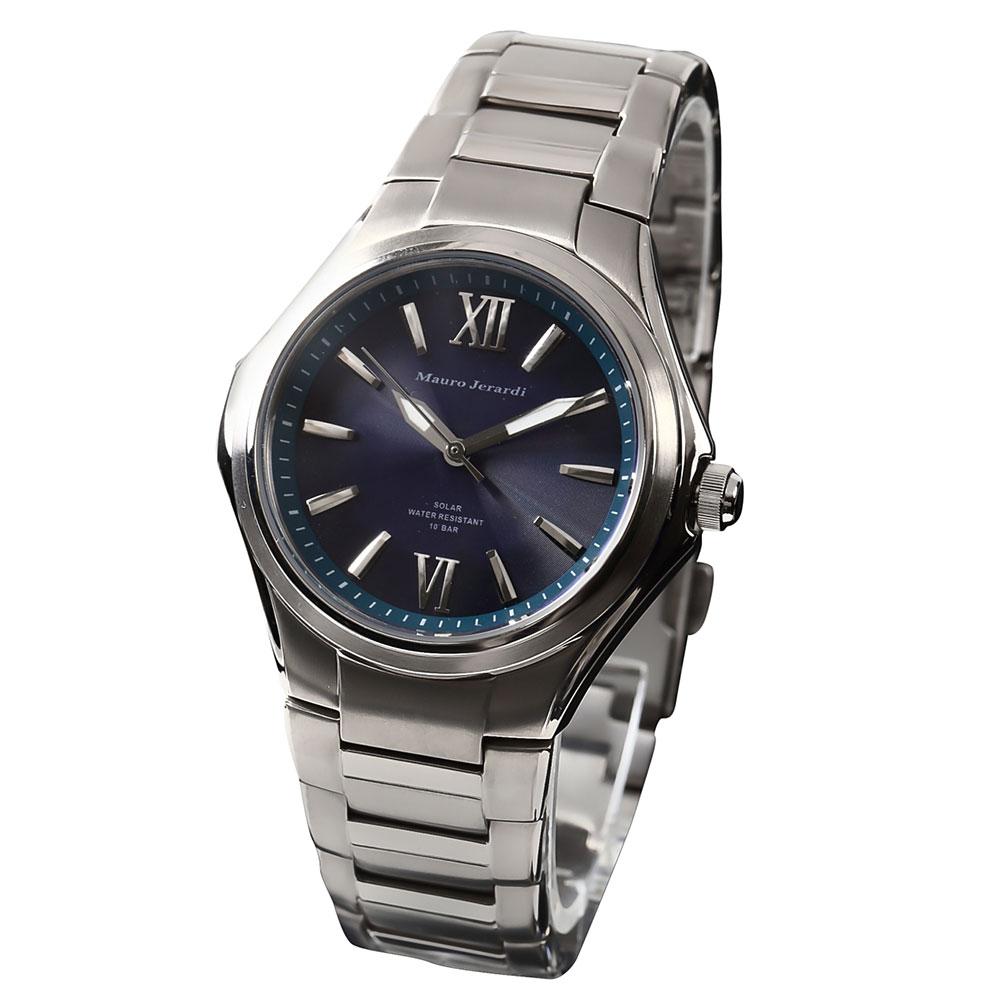 マウロジェラルディ 腕時計 メンズ ウォッチ Mauro Jerardi チタン ソーラー ネイビー文字盤 MJ039-5