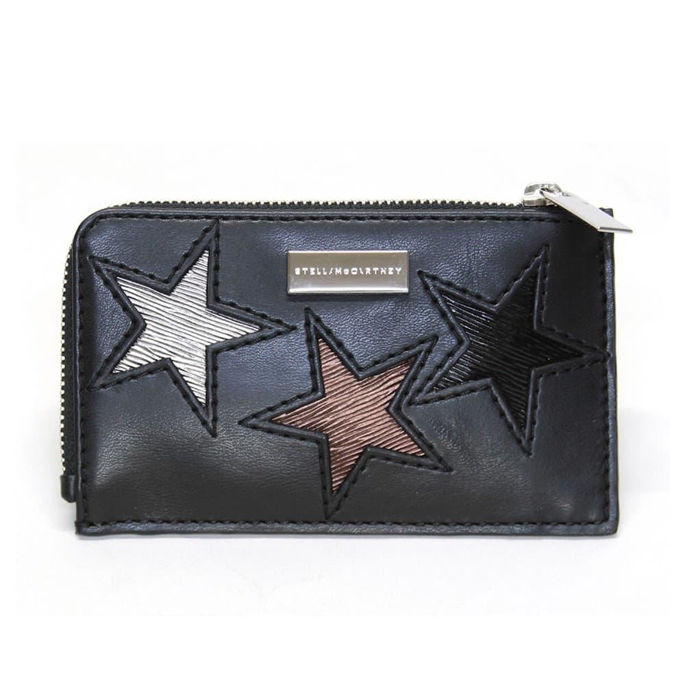 ステラマッカートニー カードケース 名刺入れ 489033 W8141 1000 スター 星型パッチワーク L字ジップ Card Holder Eco Alter Nappa & Multicolor Stars
