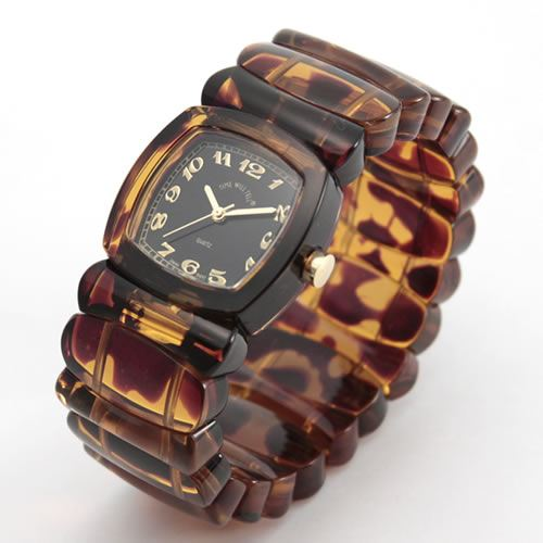 Time Will Tell time will tell ( time will tell ) pop watch Solid Colors tortoise ( tortoiseshell ) pattern modern & vintage Bangle, breath and watch Solid-TO (B) P06Dec14