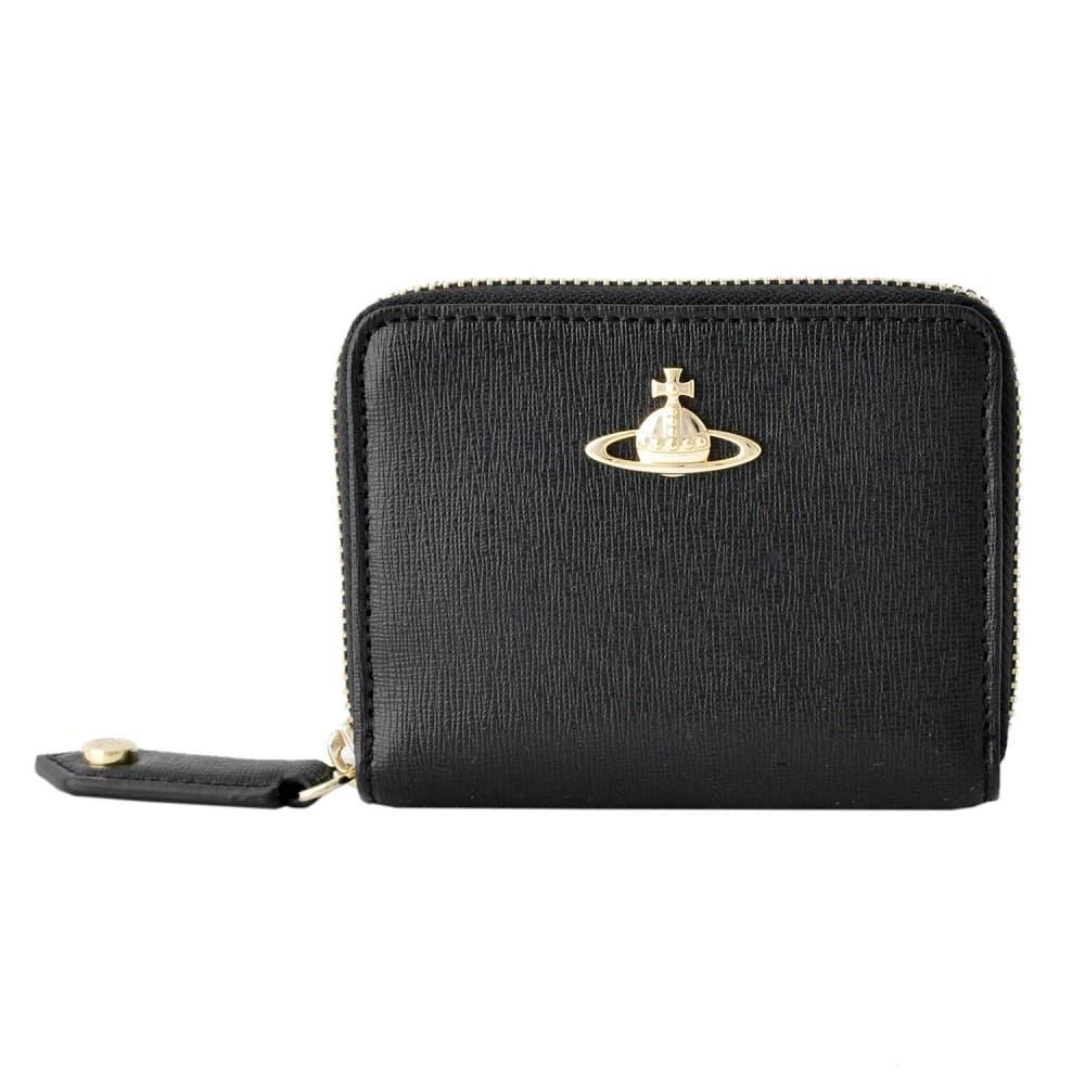 ヴィヴィアンウエストウッド 財布 Vivienne WestWood 51080001 40153 BK SAFFIANO ラウンドファスナー 二つ折り 財布