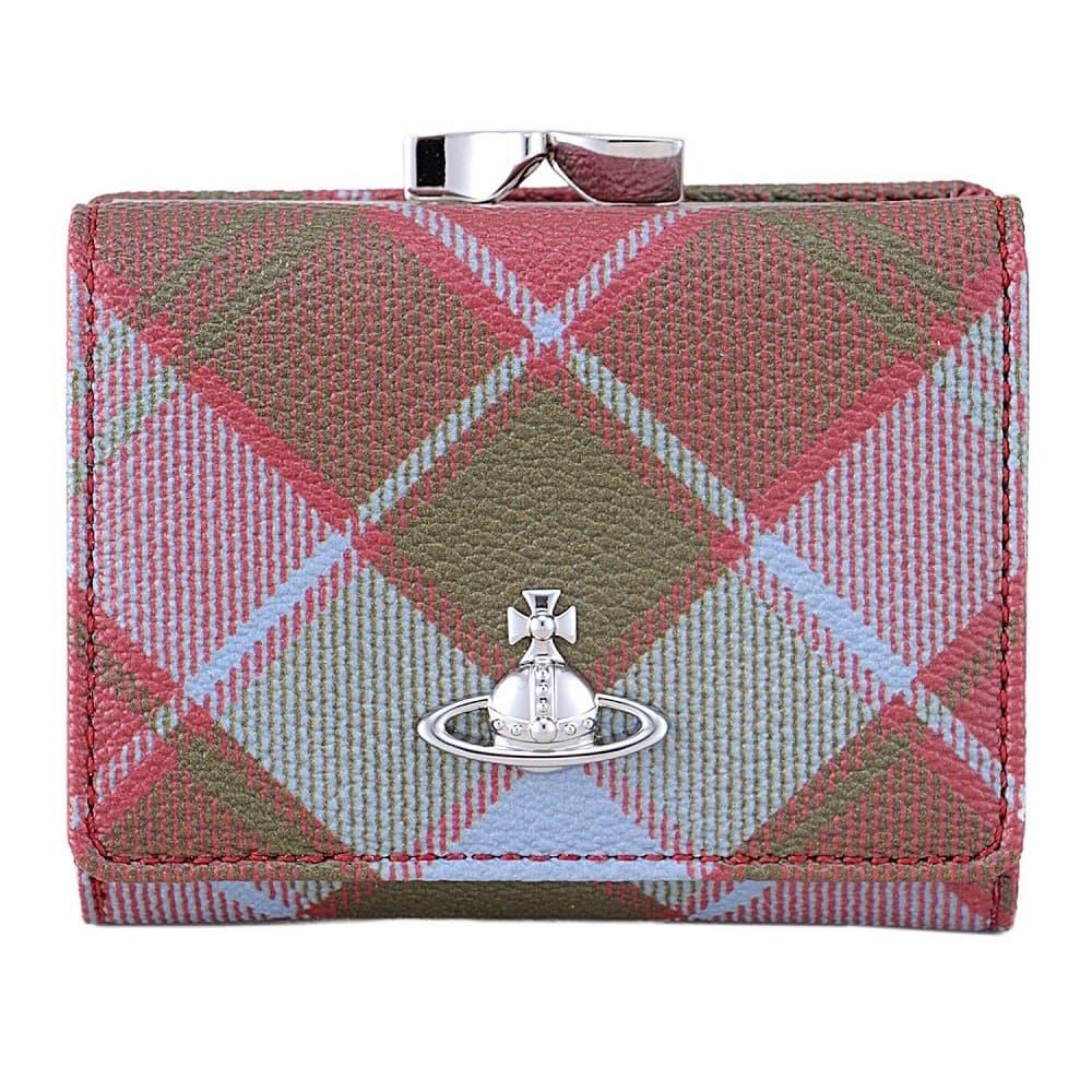 ヴィヴィアンウエストウッド 財布 Vivienne Westwood VIVIENNE'S TARTAN パスケース付 がま口 二つ折り財布 SMALL FRAME WALLET 51010018-10256-O211