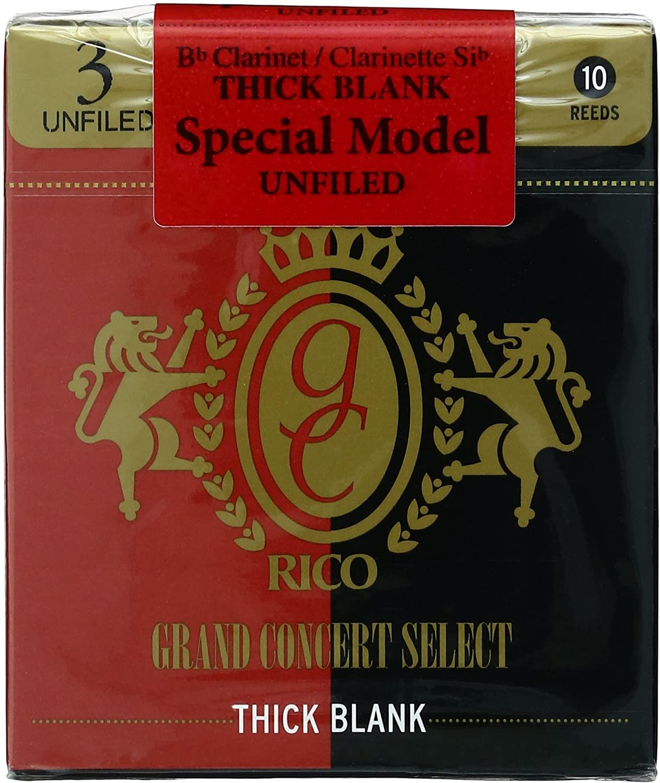 RICO リコ リード B♭クラリネットグランドコンサートセレクト シックブランクアンファイルドカット ゆうパケット RICO B♭クラリネット GRAND CONCERT RCJ1030 10枚入り UNFILED 硬さ:3.0 SELECT 本日限定 BLANK THICK 中古