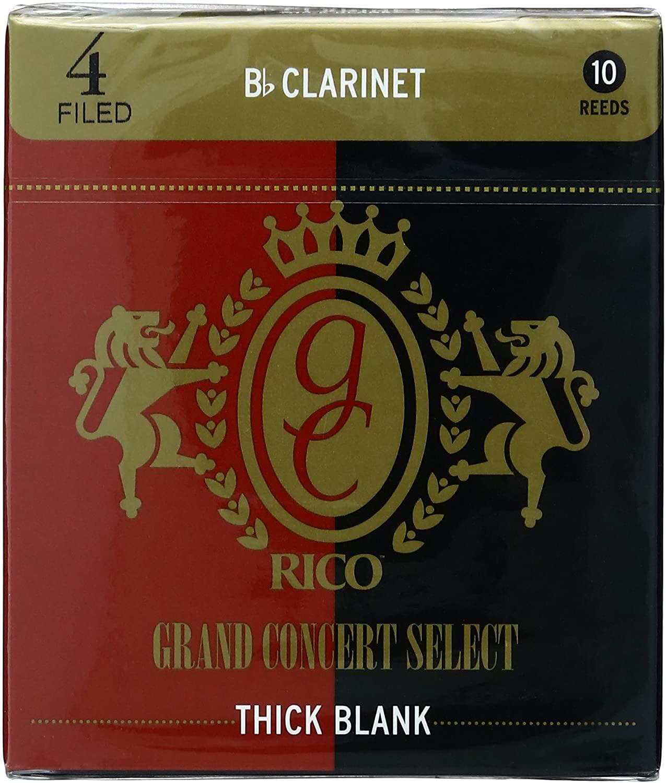 RICO リコ リード B♭クラリネットグランドコンサートセレクト シックブランクファイルドカット ゆうパケット RICO D'Addario WoodWinds Bbクラリネット用 THICK BLANK 10枚入り CONCERT メーカー再生品 硬さ:4.0 全品送料無料 GRAND RGT10BCL400 FILED SELECT