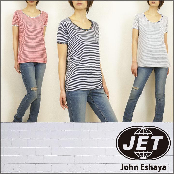 JET / John Eshaya ジェット 花柄 ストライプ Tシャツ STRIPE & FLORAL