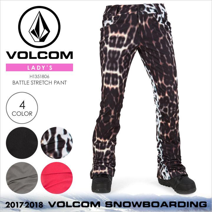 VOLCOM スノーウェア レディース BATTLE STRETCH PANT 2017-2018 秋冬 H1351806 ブラック/マルチ/グレー/ピンク XS/S/M/L/XL