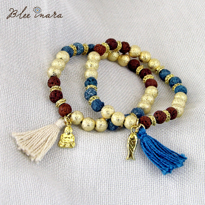 \P10倍 お買い物マラソン限定/ BLEE INARA / ブリーイナラ ブレスレット RED AND BLUE WITH GOLD BEADS BRACELET WITH FISH AND TASSEL