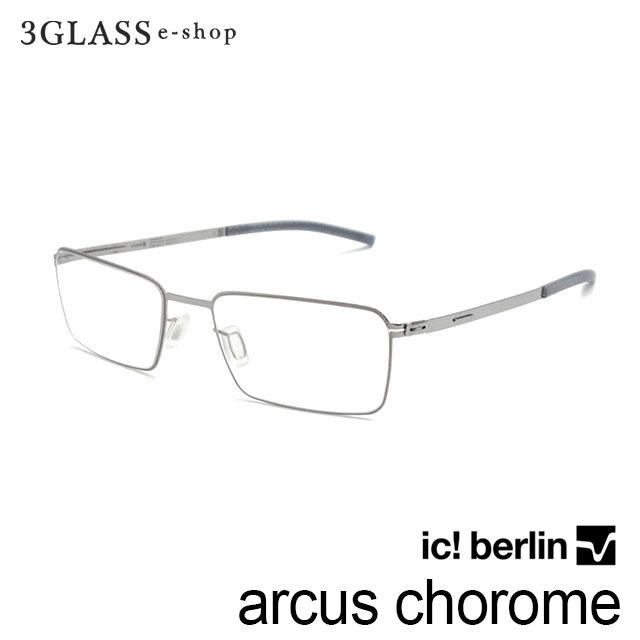 高級感漂うスクエア型をしたフルリムのアイウェア ic berlin アイシーベルリン 激安通販 arcus choromeカラー シルバー 眼鏡 期間限定送料無料 サングラス 人気 メガネ 49mm フレーム おしゃれ