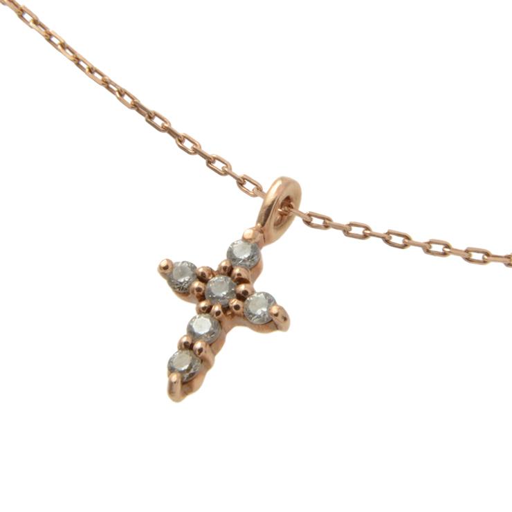 貴金属 4℃ ヨンドシー クロストップ ネックレス 5P ダイヤモンド ピンクゴールド PG アクセサリー 小物【本物保証】【中古】