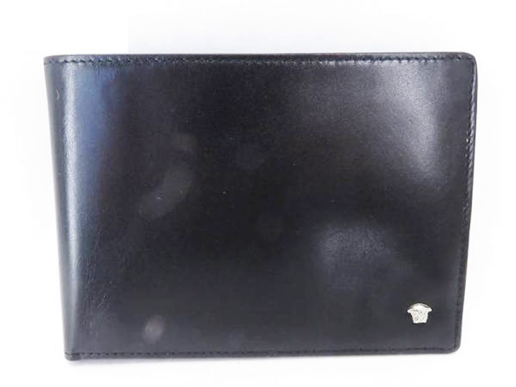 【エントリーでポイント10倍!4/9~】美品 VERSACE ヴェルサーチ 二つ折り 札入れ 財布 レザー ブラック 黒 メンズ【本物保証】【中古】