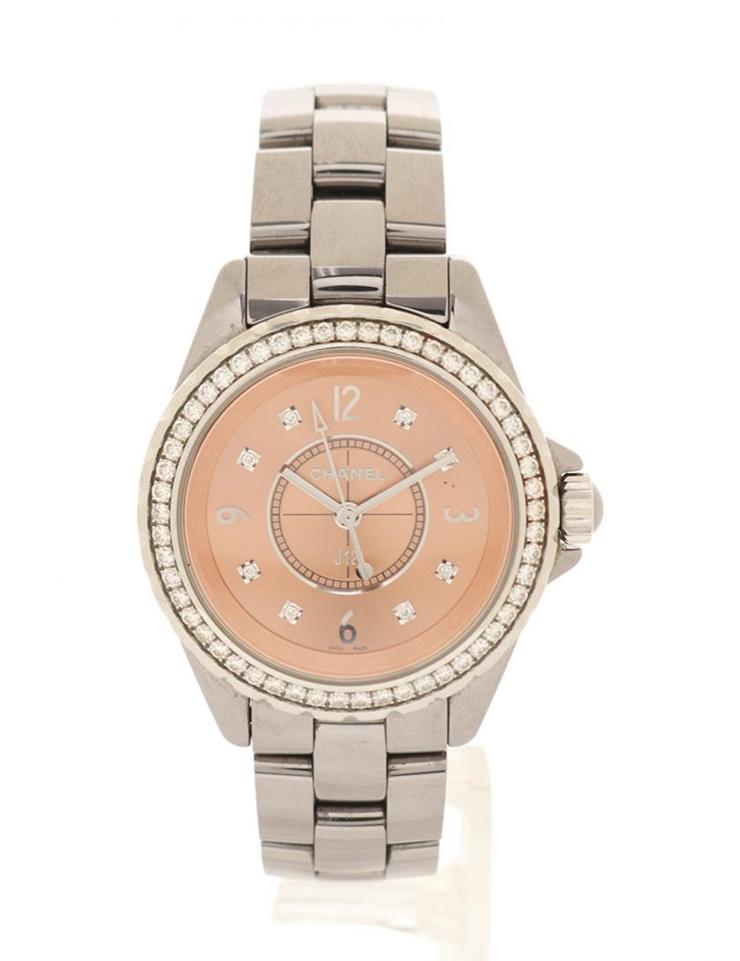 CHANEL シャネル J12 クロマティック レディース 腕時計 H2563 クオーツ SS ダイヤモンド シルバー ダイヤベゼル 8Pダイヤモンド ベージュ文字盤 【本物保証】【中古】