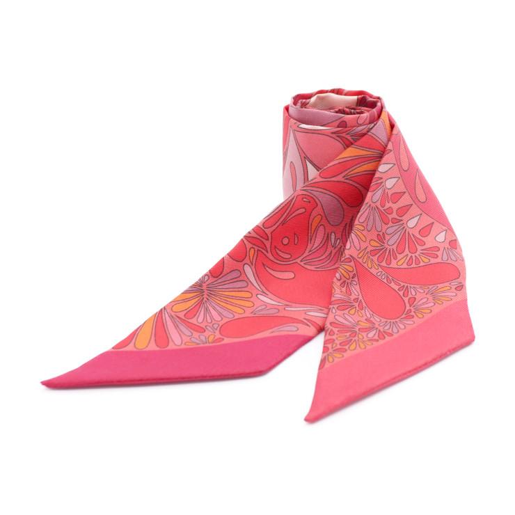 新品未使用展示品 HERMES エルメス ツイリー スカーフ シルク 赤系 マルチカラー 小物 【本物保証】【中古】