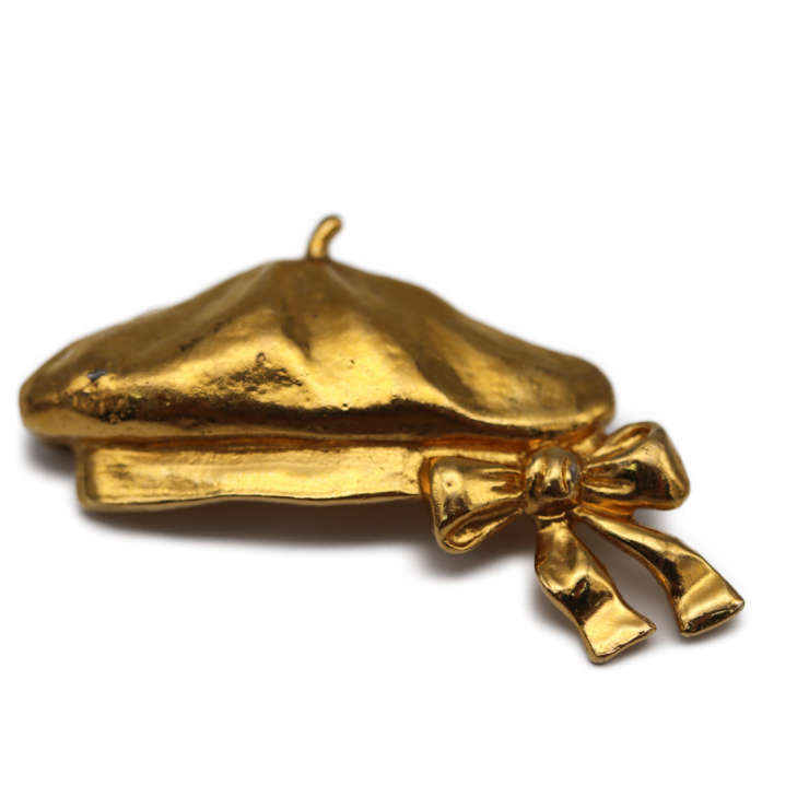 CHANEL シャネル ベレー帽モチーフ ブローチ ゴールド メタル アクセサリー 【本物保証】【中古】