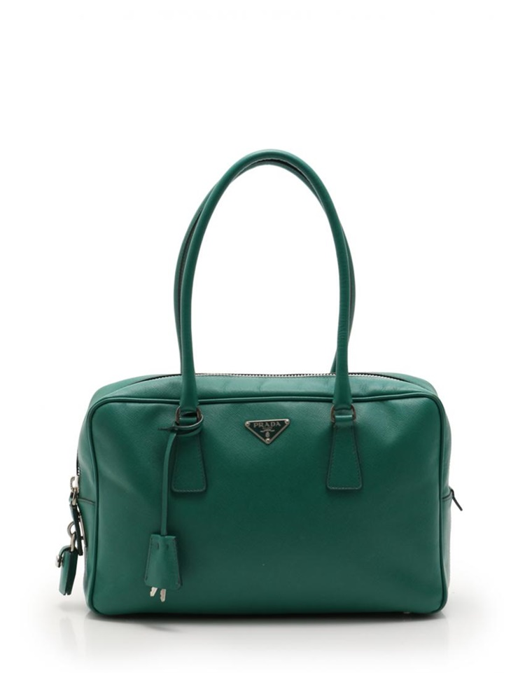 PRADA プラダ ハンドバッグ サフィアーノレザー 緑 グリーン レディース【本物保証】【中古】
