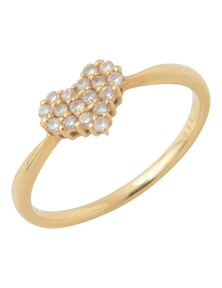 ダイヤモンド ハートモチーフ デザインリング K18 YG イエローゴールド 11号 指輪【本物保証】【中古】