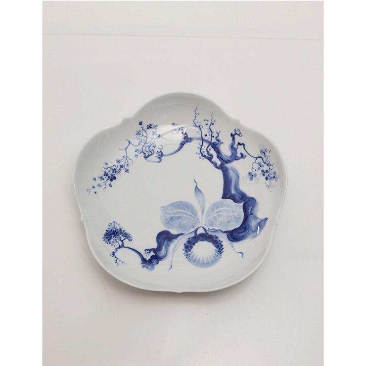 新品未使用展示品 Meissen マイセン ブルーオーキッド 大皿 プレート 磁器 白 青 食器 【本物保証】【中古】