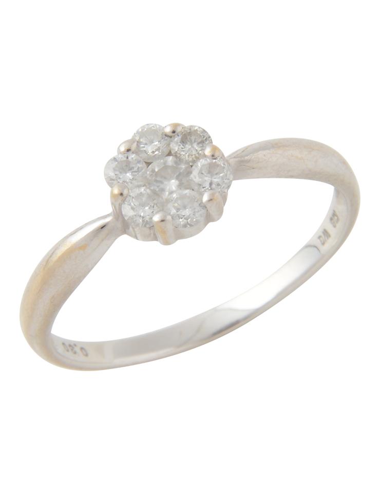 ダイヤモンド 花モチーフ デザインリング K18WG ホワイトゴールド 14号 指輪【本物保証】【中古】