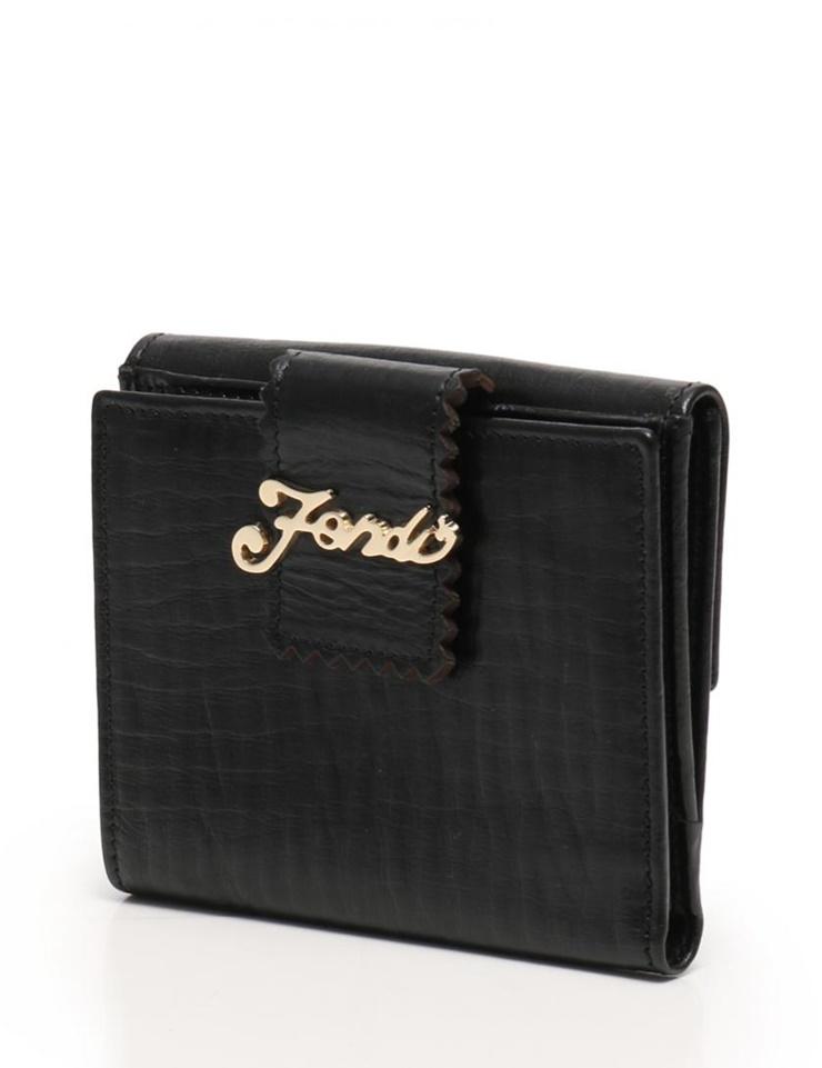 【エントリーでポイント10倍!4/9~】超美品 FENDI フェンディ Wホック 二つ折り 財布 レザー ブラック AB96751 【本物保証】【中古】