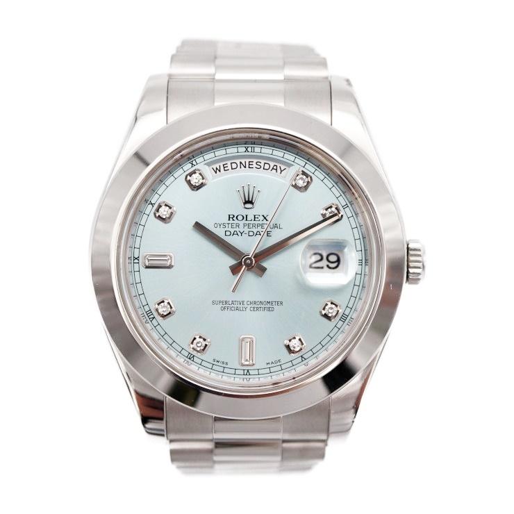【エントリーでポイント10倍!4/9~】ROLEX ロレックス デイデイト II 218206A アイスブルー文字盤 メンズ 腕時計 自動巻 PT【本物保証】【中古】