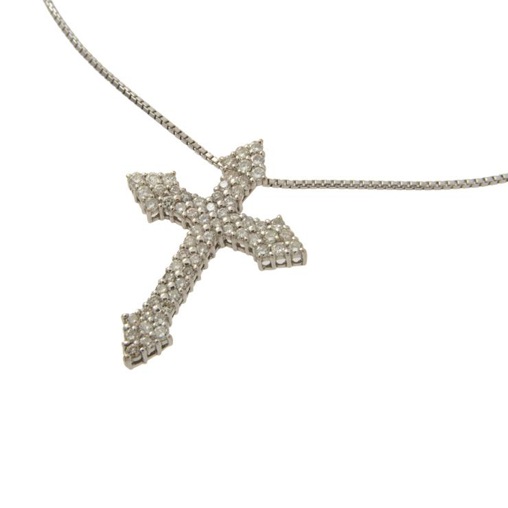 【全品ポイント10倍 5/11~】美品 貴金属 十字架 クロストップ ネックレス ペンダント 62Pダイヤモンド 1.0ct ホワイトゴールド K18WG 750 アクセサリー 小物【中古】