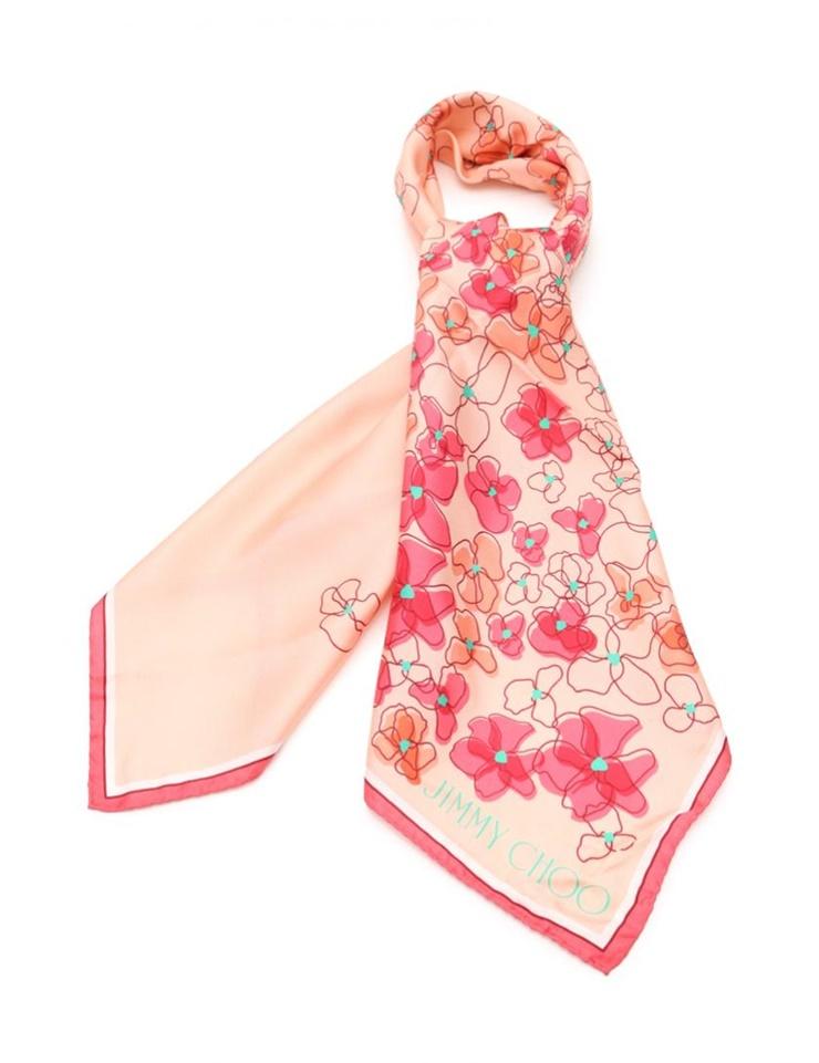 新品未使用展示品 JIMMY CHOO ジミーチュウ スカーフ シルク ピンク マルチカラー 花柄【本物保証】【中古】