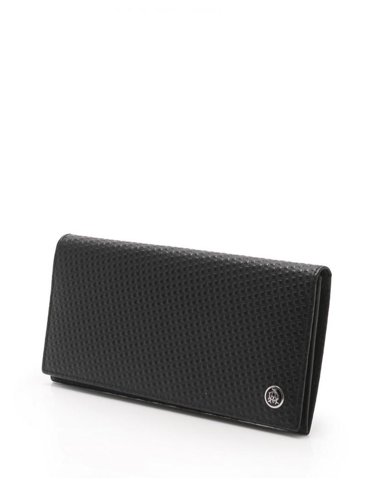 超美品 dunhill ダンヒル マイクロディーエイト 二つ折り 長財布 レザー ブラック L2G310A 【本物保証】【中古】