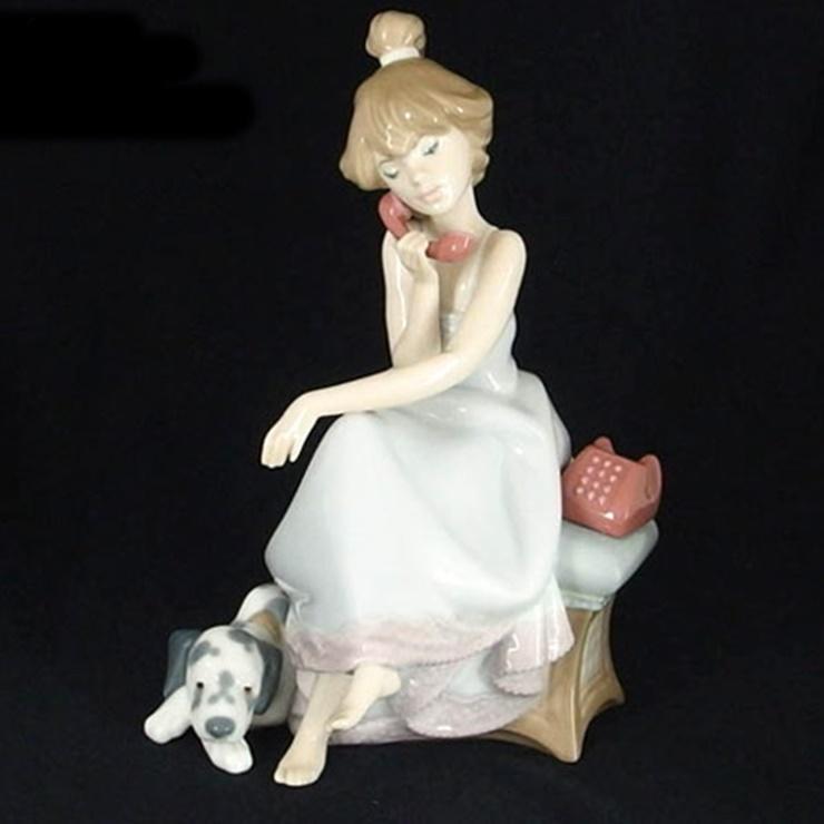 【中古】美品 LLADRO リヤドロ 大事な電話 犬と少女 置物 磁器【本物保証】【中古】