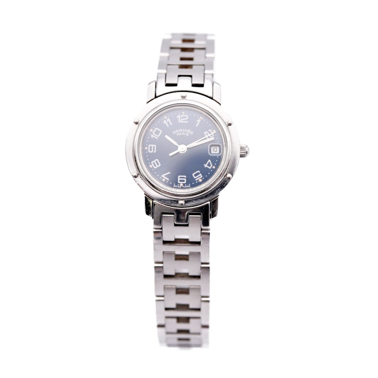 【エントリーでポイント10倍!4/9~】HERMES エルメス クリッパー 腕時計 CL4.210 レディース SS シルバー ネイビー文字盤 クオーツ【本物保証】【中古】
