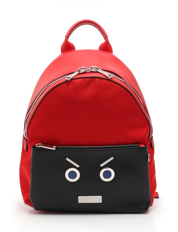 fc169d7c2 Possible super beautiful article FENDI Fendi face rucksack backpack 7VZ012  nylon leather red black man and woman combined use [genuine guarantee]
