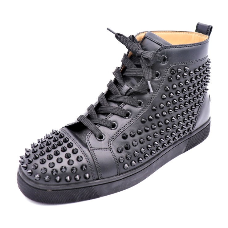 new products 15987 067e6 Beautiful article CHRISTIAN LOUBOUTIN クリスチャンルブタンハイカットスニーカー LOUIS SPIKES  FLAT Lewis spikes 1101083-B049-1718AW leather black maker size 40 1/2 ...