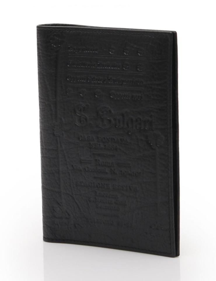 新品未使用展示品 BVLGARI ブルガリ パスポートカバー マルチケース レザー 黒【本物保証】【中古】