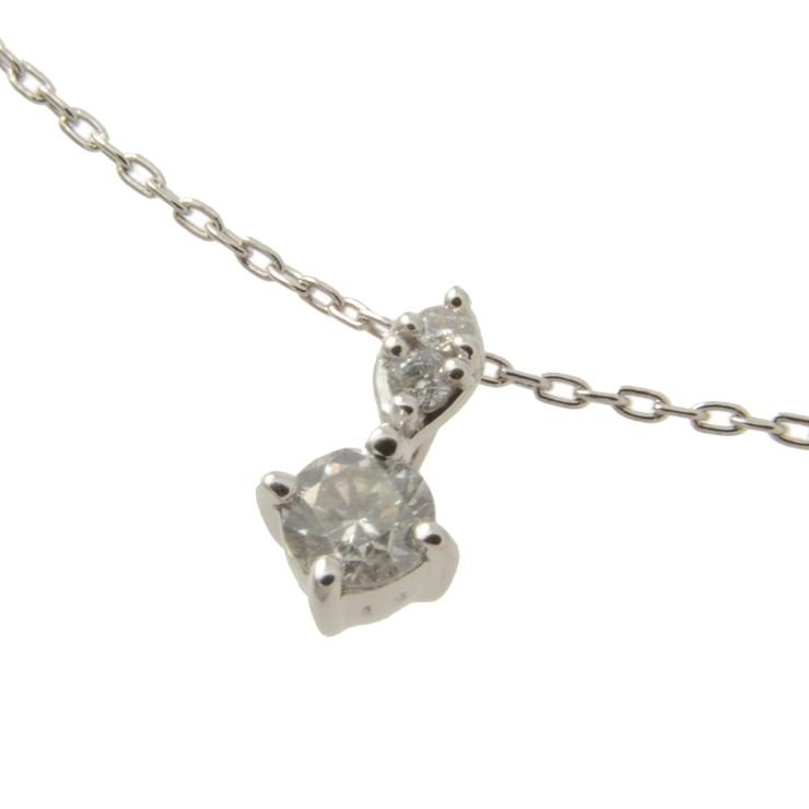 【全品ポイント10倍 5/11~】美品 貴金属 ダイヤネックレス ペンダント 3Pダイヤモンド 0.1ct ホワイトゴールド K18WG 750 アクセサリー 小物【中古】