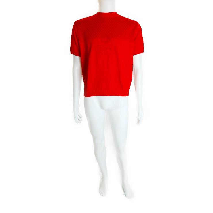 新品未使用展示品 Versace ヴェルサーチ 半袖ニット トップス 赤 綿 メンズ メーカーサイズL【本物保証】【中古】