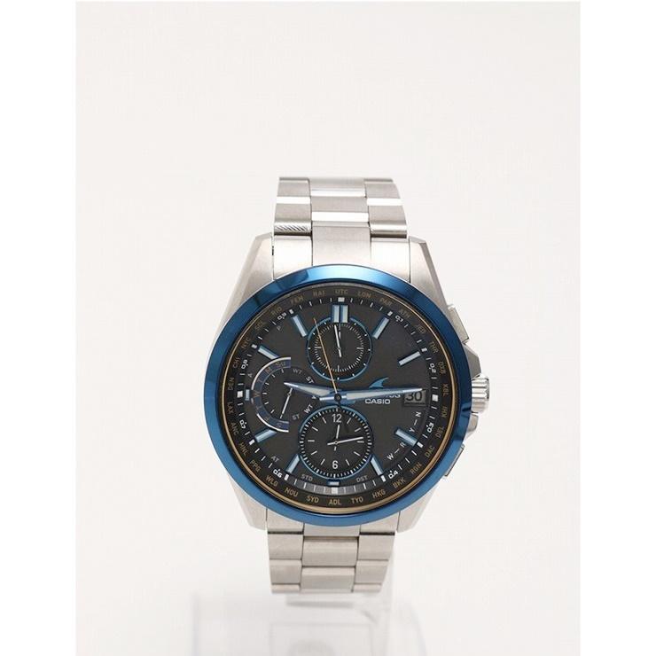 超美品 CASIO カシオ メンズ 腕時計 オシアナス OCW-T2600 チタン シルバー ブルー ソーラー電波【本物保証】【中古】