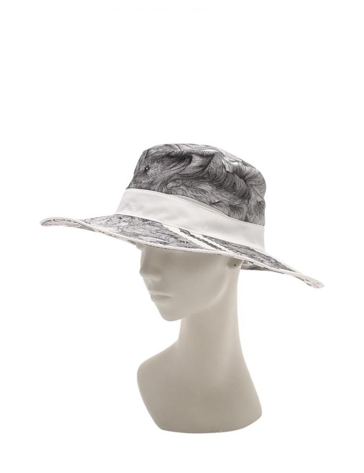 新品未使用展示品 HERMES エルメス シルクプリント ハット 帽子 グレー 白 メーカーサイズ57【本物保証】【中古】