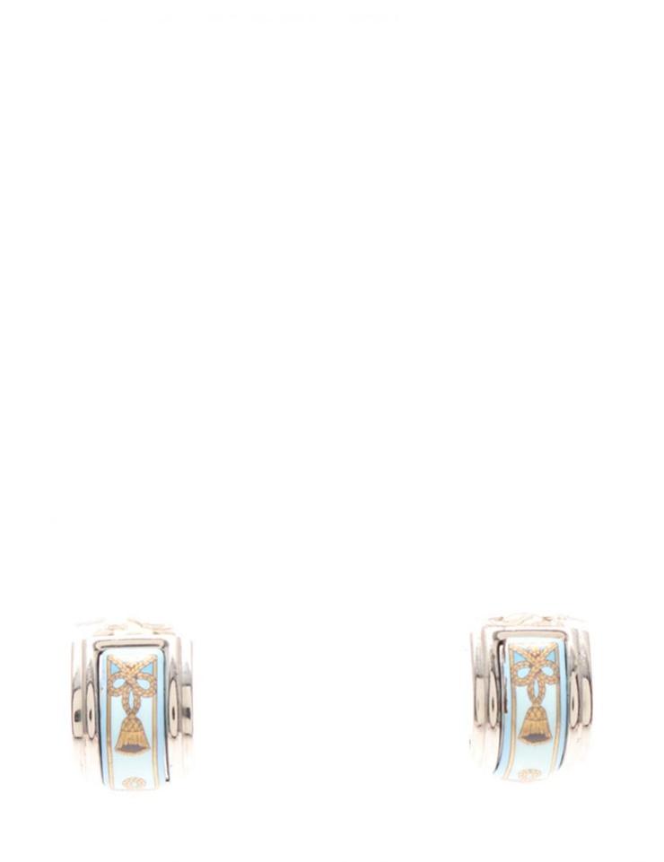 HERMES エルメス エマイユ イヤリング メタル 七宝 シルバー 水色 アクセサリー 小物【本物保証】【中古】