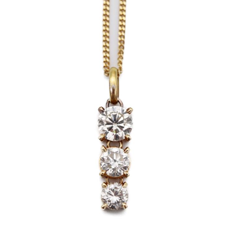 【エントリーでポイント10倍!4/9~】貴金属 ダイヤモンド ネックレス ペンダント イエローゴールド K18 3PD 1.596ct レディース アクセサリー 小物【本物保証】【中古】