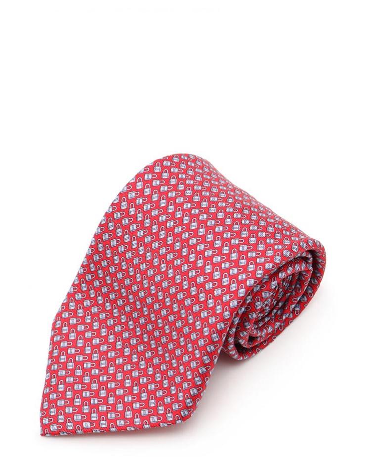 新品未使用展示品 HERMES エルメス Twillbi Locks of Love tie メンズ ネクタイ 625993T シルク レッド 水色 アパレル 小物【本物保証】【中古】