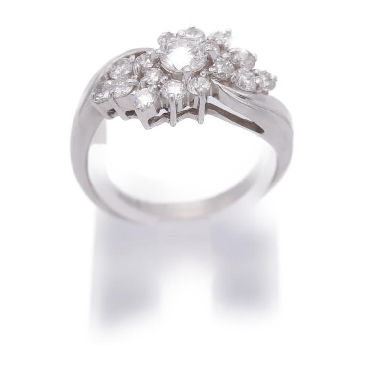 貴金属 デザインリング 指輪 ファッションリング サイズ13号 5.8g D1.08ct アクセサリー レディース【本物保証】【中古】