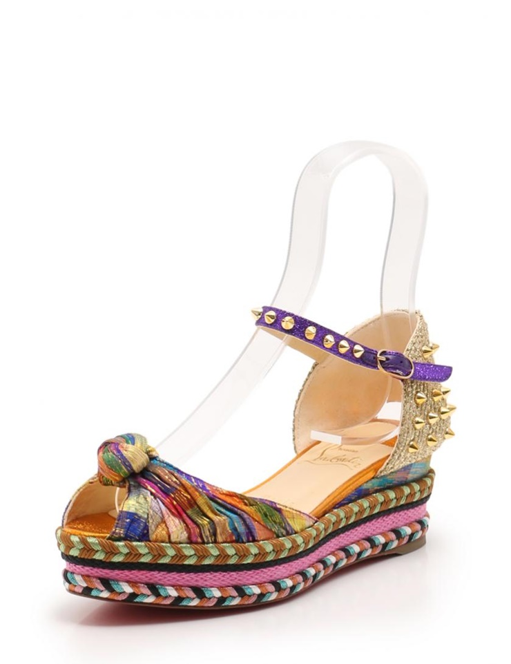 premium selection 283bf 1eb73 New article-free display Christian Louboutin クリスチャンルブタン MADCARINA 60  sandals canvas hemp gold multicolored opening toe lam spikes studs maker  size 36 ...