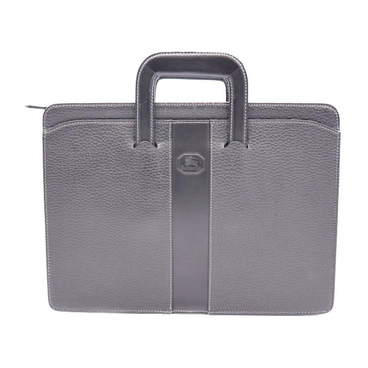 BURBERRYS バーバリーズ ビジネスバッグ ブリーフケース 書類鞄 レザー ブラック【本物保証】【中古】