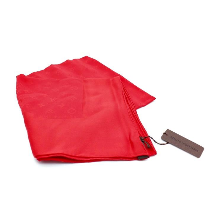 新品未使用展示品 LOUIS VUITTON ルイヴィトン カレ・モナコ シルク スカーフ M71156 レッド【本物保証】【中古】