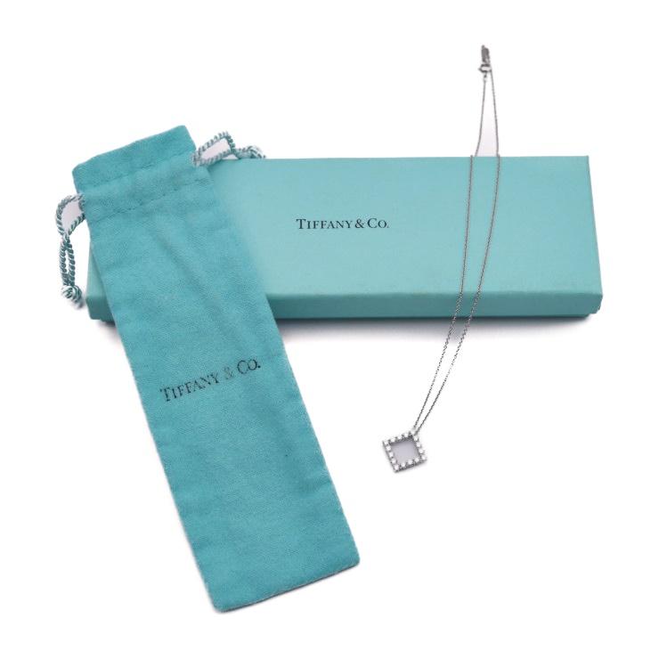 67362fdde72e Beautiful article TIFFANY   Co. Tiffany square diamond necklace Pt950  accessories accessory