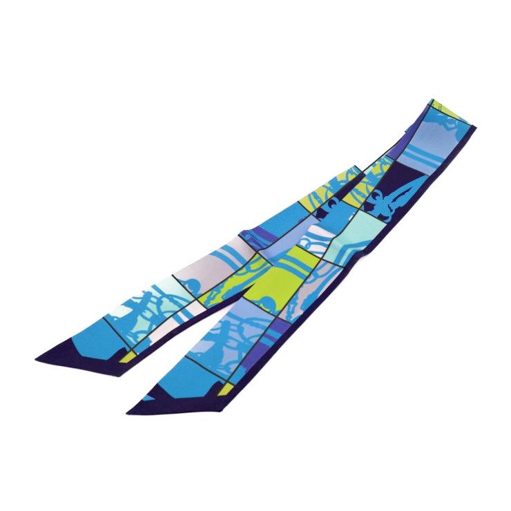 新品未使用展示品 HERMES エルメス ツイリー リボンスカーフ シルク マルチカラー ネイビー ブルー 黄緑【本物保証】【中古】