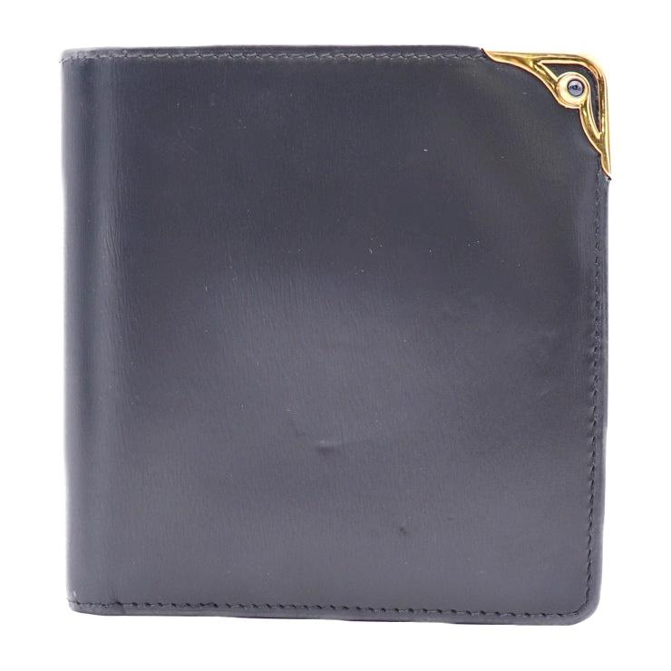 Cartier カルティエ サファイアライン 二つ折り財布 L3000154 レザー ネイビー 【本物保証】【中古】